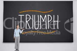 Businesswoman presenting the word triumph