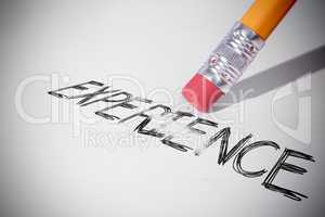 Pencil erasing the word Experience