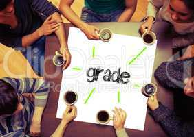 Student sitting around page say Grade
