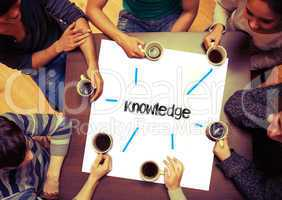 Student sitting around page say Knowledge