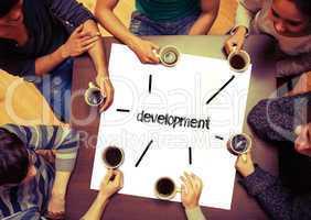 Student sitting around page say Development