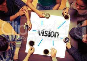 Student sitting around page say Vision