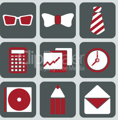 Set of Nine Office Icons