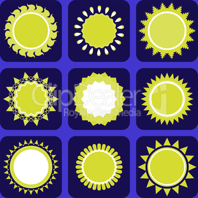 Set of Nine Icons With Sun