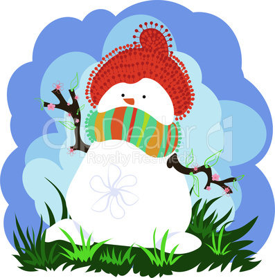 Snowman in Spring With Clouds