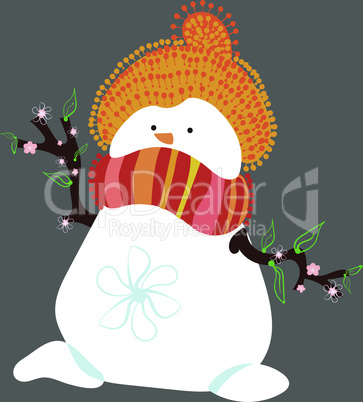 Snowman in Spring Isolated