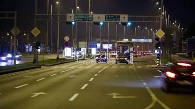 Car driving Rush-hour Traffic in city time lapse night