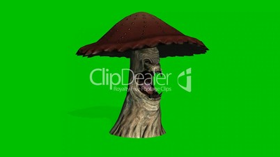 angry big brown mushroom appears and dies on green screen