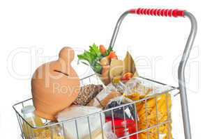 Shopping cart full with money box and food products