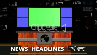news headlines studio background - green screen effect