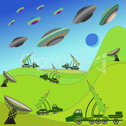 Flying plates of aliens are attacking the Earth
