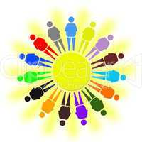 nice multicolored little men as a symbol of solidarity