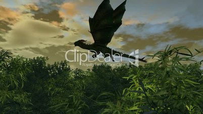 dragon flies over bamboo forest on sunset background