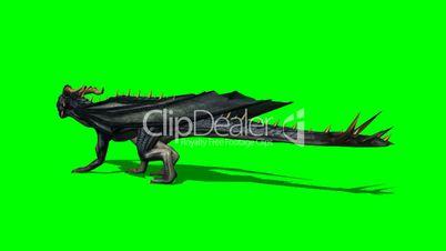 dragon walks - green screen