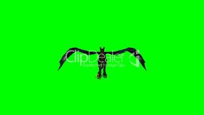 flying dragon wyvern - green screen