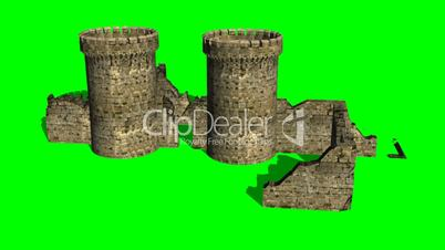 castle ruin - different views - green screen
