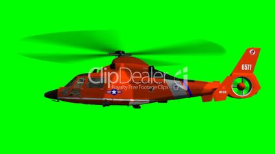Helicopter U.S. Coast Guard Eurocopter fly - green screen