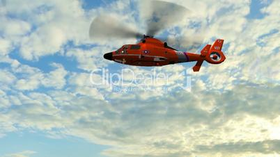 Helicopter U.S. Coast Guard Eurocopter fly over