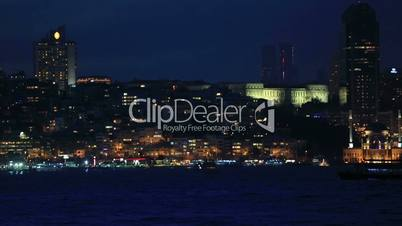 famous city istanbul skyline at blue hours