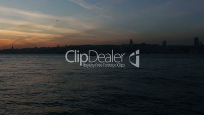 famous city Istanbul skyline at sunset