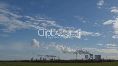 coal power station pollution time lapse wide pan 11306