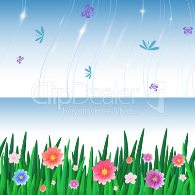 banners with repeating pattern tile of grass and sky