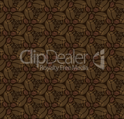 seamless pattern with coffee beans on dark broun background.eps