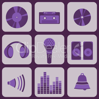 set collection of nine purple music icons.eps