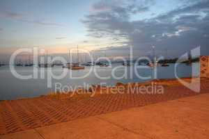 view of the sea in the causeway of amador in panama in the sunse
