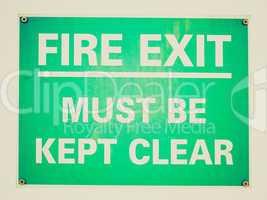 Retro look Fire exit sign