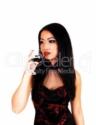 chinese girl drinking wine.