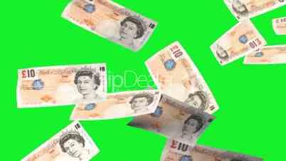 British pounds rain - green screen