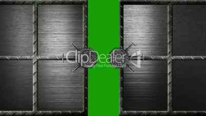 security steel door opens and closes - green screen