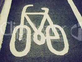 Retro look Bike lane sign