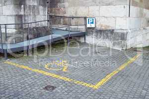 handicapped parking space in old city