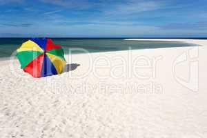 sunshade on tropical white beach