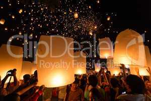 launching floating lanterns