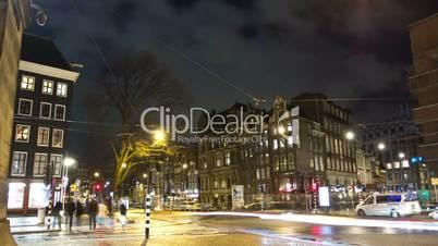 Night traffic of Amsterdam at night. Time lapse.