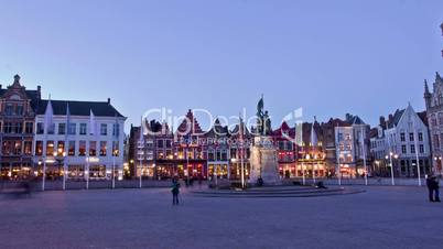 Old Markt square in the center of Bruges (Bruges), Belgium. Time Lapse.