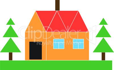 Small house with the firs