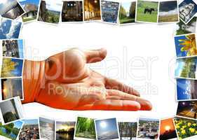 many motley images and offering hand