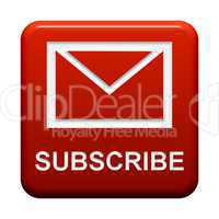Roter Button: Briefsymbol Subscribe