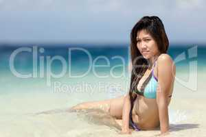 beautiful young filipina woman at the seaside