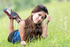 beautiful young filipina woman enjoying nature