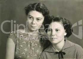 vintage portrait of two attractive women