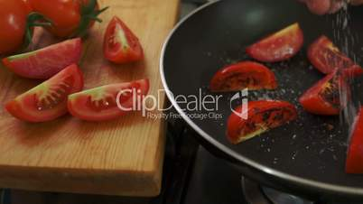 Organic Tomatoes Fried with Salt and Pepper