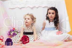 Smart little sisters posing in decorated studio