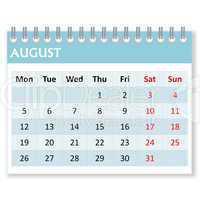 calendar sheet for august
