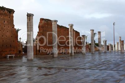 City wall of mausoleum Mohammed V. in Rabat