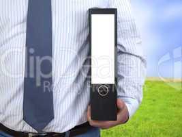 businessman with file folders